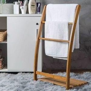 Handdoekenrek staand bamboe sfeer